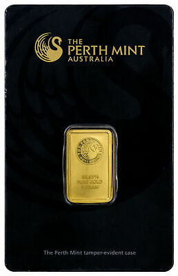 Perth Mint 5 Gram .9999 Gold Bar - New Sealed With Assay Certificate SKU27176