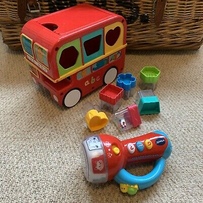 SHAPE SORTER Bus ELC Baby Toy Red Rattles VGC