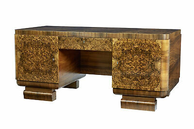 Elegant Scandinavian Burr Walnut Art Deco Pedestal Desk