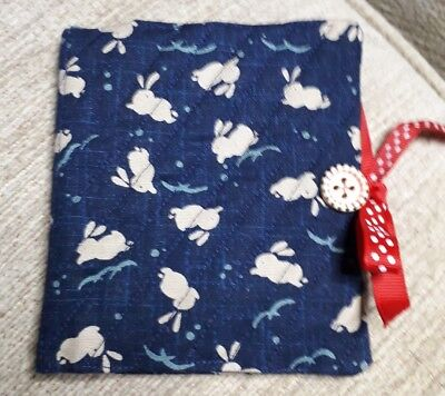 Quilted Handmade Needle Book Japanese Rabbits Navy Blue Fabric wooden button