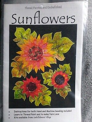 Sunflowers Thread Painted and Embellished Quilt Pattern only