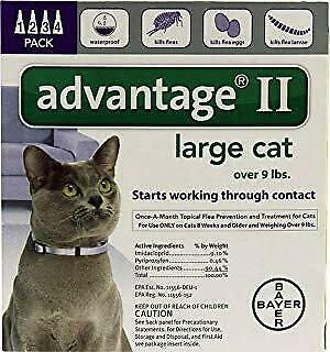 Bayer Advantage II For Large Cats, Purple, Over 9lbs 4-Pk. USA VERSION