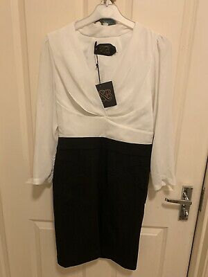 Brand New With Tags White And Black Formal Wear Dress Size Small Free Postage
