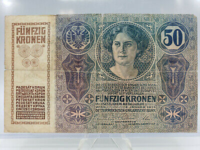 1914 Austria-Hungary 50 Kronen in Currency Holder