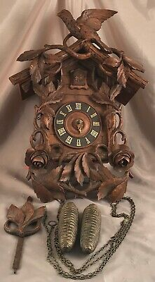 "Vintage Bavarian Black Forest Hand Carved Cuckoo Clock 19"" Very Unusual Working"
