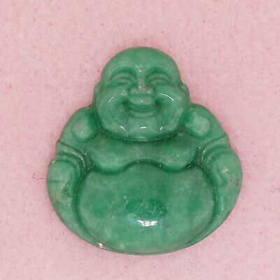 Genuine Green Asian Oriental Chinese Jade Smiling Happy Buddah Pendant Figurine