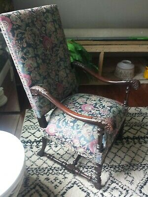 Antique High Back Chippendale Chair Upholstered Oversized Arm Chair Beautiful