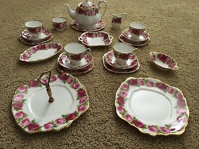 Royal Albert Old English Rose Tea Set With Additional Serving Pieces - Pretty