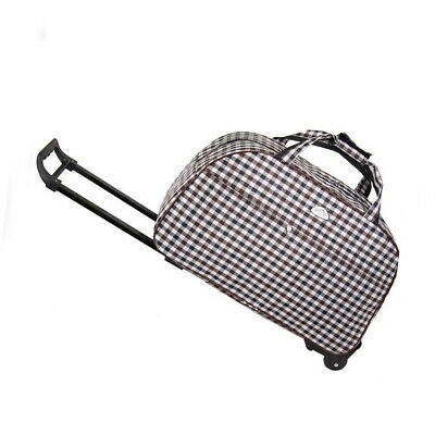 Rolling Wheeled Duffle Bag Collapsible Waterproof Travel Suitcase Luggage Grids