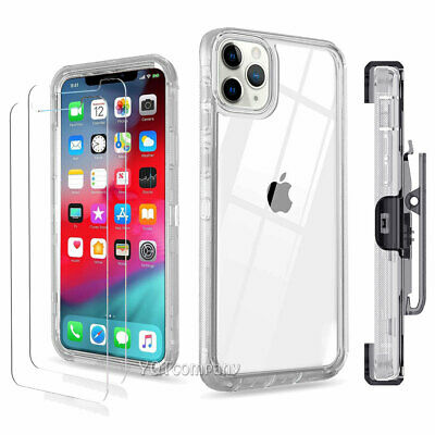 For iPhone X XR XS 11 Pro Max Case Clear Shockproof Cover With Clip Belt Holster