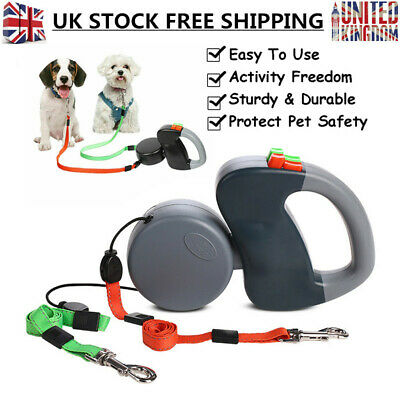 Pet Puppy Dog Training Double Lead Leash Collar Harness Long Line Strong Rope 3M