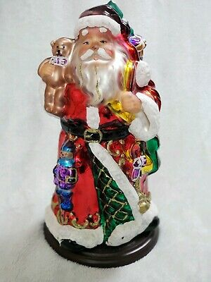 "2004 Thomas Pacconi Blown Glass Tabletop 14"" Santa Clause Figurine Christmas"