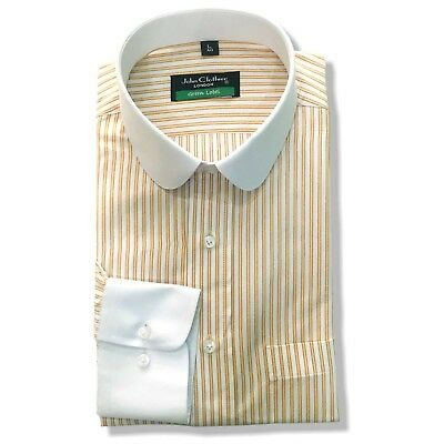Peaky Blinders Mens Penny shirts Yellow White stripes Bankers Club Round Gents