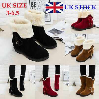 Womens Ladies Girls Ankle Flat Faux Fur Lined Boots Warm Winter Shoes Size 3-6.5