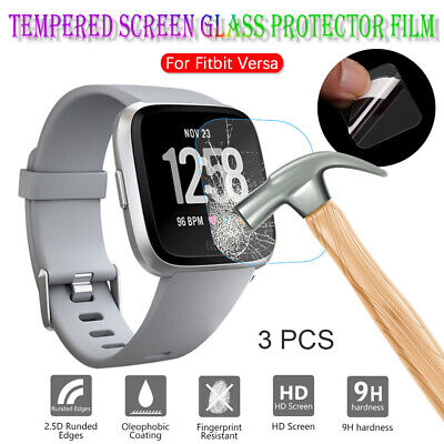 3X Tempered Glass Screen Protectors Film Premium Guard Cover For Fitbit Versa