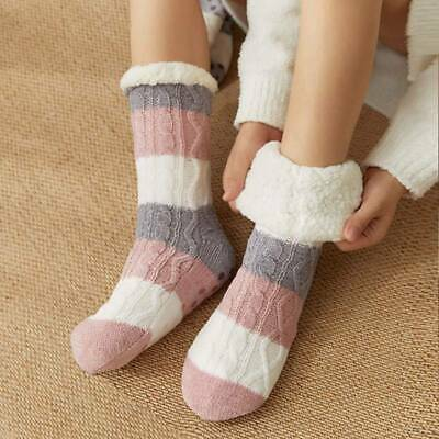 Winter Thicken Knit Fleece Lined Indoor Socks Women Soft Warm Fuzzy S#fan