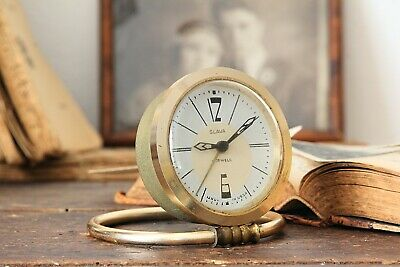 Folding Travel Alarm Clock Small Working Antique Vintage Wind Up Table Clock
