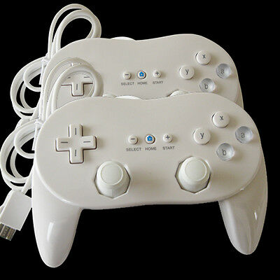2 Pro Classic Game Controller Console Gamepad Fit For Nintendo Wii Remote White