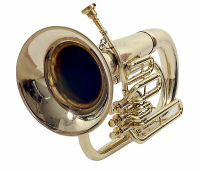INVENTION SALEBAND APPROVED SAI! New Brass Finish Bb Flat 3V Euphonium Free.CaSE