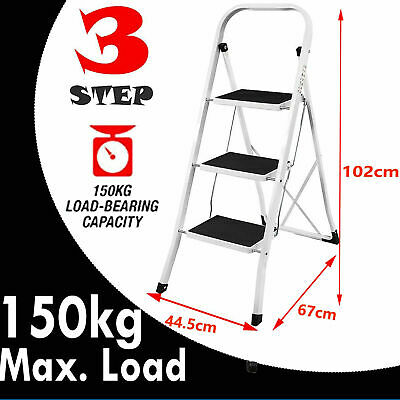 Portable Folding 3 Step Tread Ladder Safety Non Slip Mat Heavy Duty Steel Frame