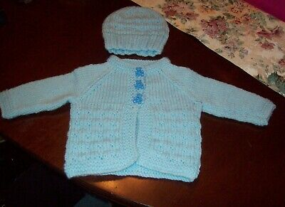 HAND KNITTED BLUE BABY SWEATER AND HAT - 0-3 MONTHS - Free shipping
