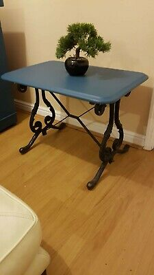 Vintage Cast iron Side Table Painted blue