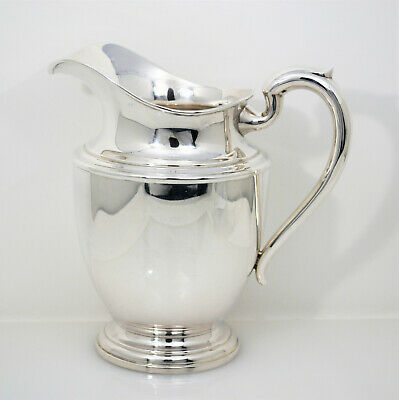 #9123 -Classy National Silver Co Lg Sterling Water Pitcher Plain Pattern No Mono