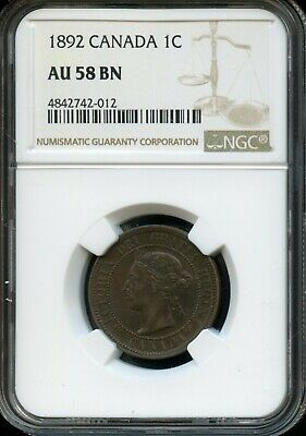 1892 Canada 1C Ngc Au 58 Bn(About Uncirculated 58 Brown) Canadian 1C Coin Fc730