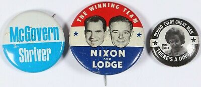 Lot of 3 Presidential Campaign Pins Nixon an Lodge, McGovern and Shriver, Bunker