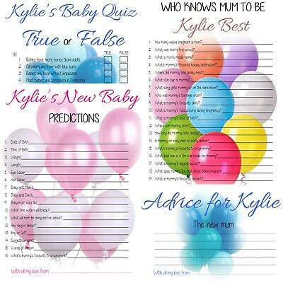 PERSONALISED BABY SHOWER GAMES Who Knows Mummy/Predictions/Quiz/Advice Favours