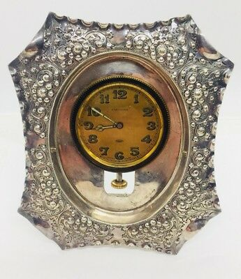 A. LeCoultre Sandoz Antique 8 Day Car Clock In Silverplated Frame