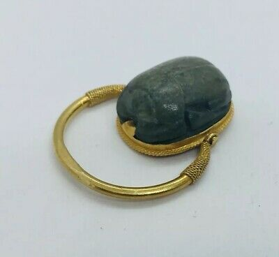 Antique Egyptian 18k Yellow Gold Ancient Scarab Swivel Ring Size 5.25