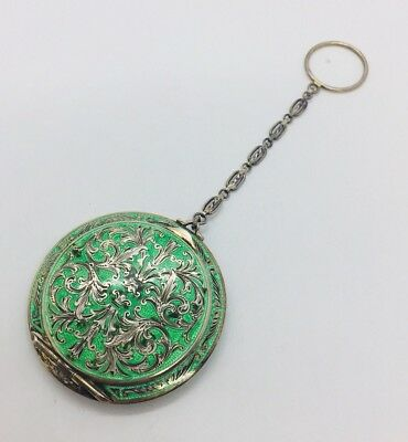 Austrian Antique Sterling Silver Green Enamel Ornate Compact Case
