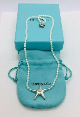 Tiffany & Co. Authentic Sterling Silver & Pearl Starfish Necklace