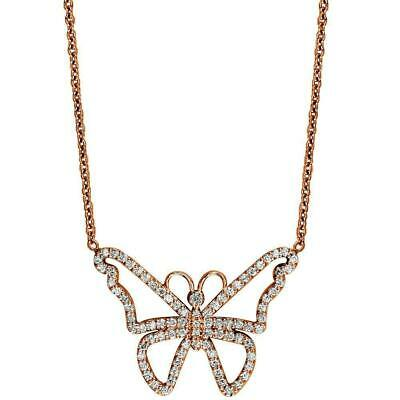 Diamond Butterfly Necklace in 14K Pink Gold, 0.75CT