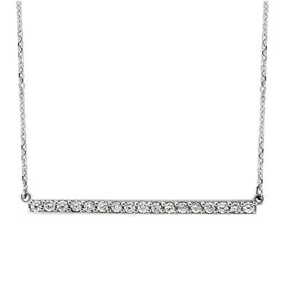 Diamond Bar Necklace, 1.75 Inch, 0.85CT in 14K White Gold