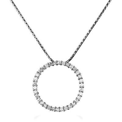 Diamond Circle Pendant and Chain in 14K