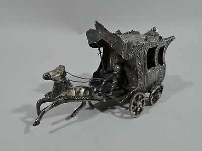 Antique Miniature - Rococo Horse Drawn Carriage Coach - German 800 Silver