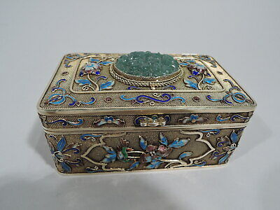 Export Box - Antique Asian Filigree - Chinese Silver Gilt Enamel Jade - C 1910