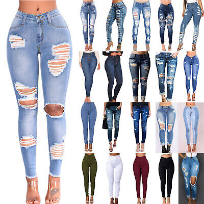 Women High Waisted Denim Jeans Stretchy Ripped Skinny Pencil Trousers Pants Lady