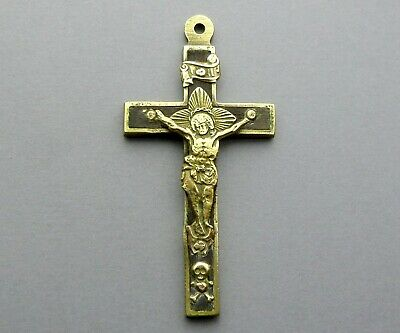 Jesus Christ, Cross, Crucifix. Antique Religious Large Pendant. French Medal.