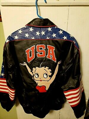 Betty Boop Leather Jacket-Waist Length-Excellent Condition-Size Medium