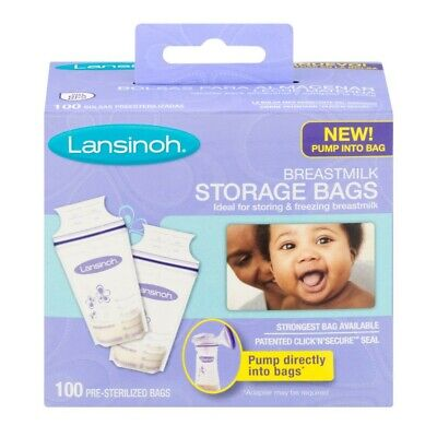 Lansinoh Nipple Cream and Breastmilk Storage Bags - 100 Count Pre-Sterilized Bag