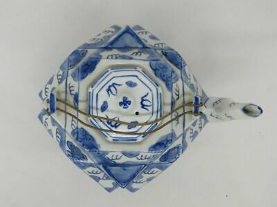Chinese Glazed Blue And White Porcelain Teapot Painted Dragons Kangxi Mark