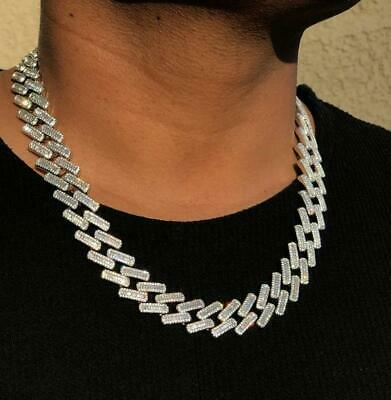 Men's Miami Cuban Link Chain 18mm Ice Out 14k White Gold Diamond Real ICY Choker