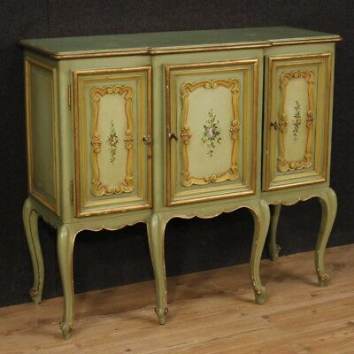 Cupboard Italian Furniture Dresser Wood Painting and Golden 3 Panels Antique 900