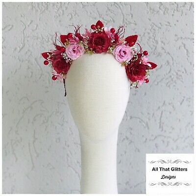 Ladies Red & Pink Tones Floral Headband Fascinator Races