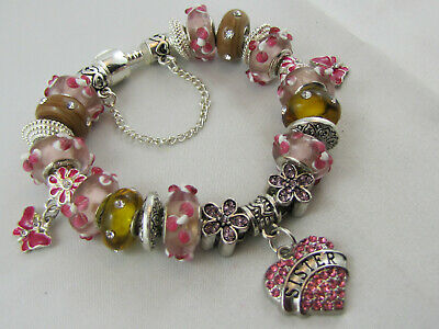 """925 SILVER STAMPED 20cm EUROPEAN STYLE CHARM BRACELET """"SISTER'S CHARM"""" (#1735)"""