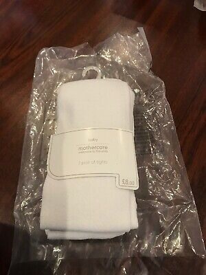 Girls age 2 - 3 years twin pack White lightweight tights by Mothercare *NEW