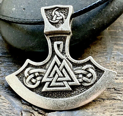 Antiqued Silver Plate Celtic Viking Axe Pendant Necklace